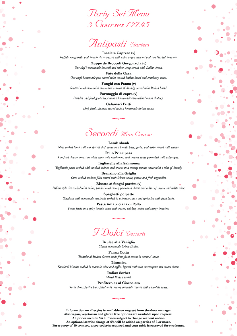 Party Set Menu